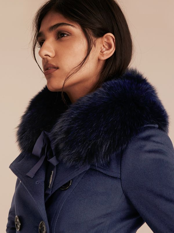 Fox Fur Collar with Check Cashmere Lining in Indigo Blue - Women | Burberry United States - cell image 2