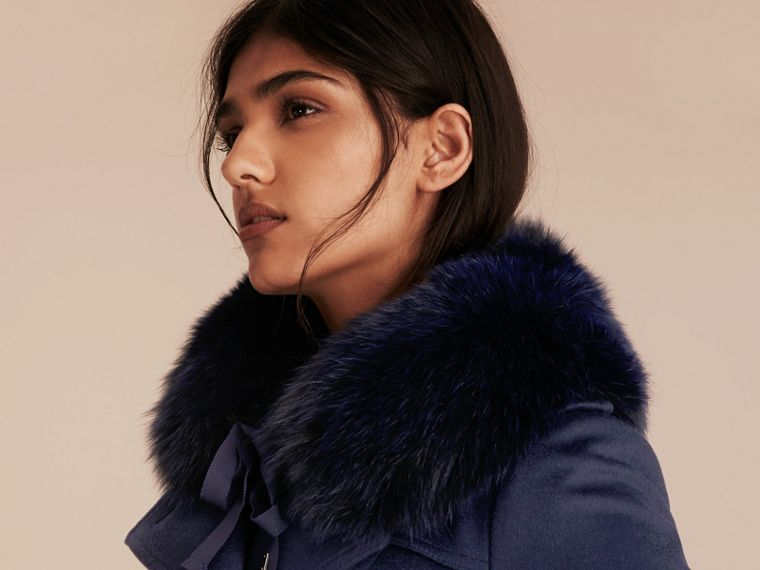 Fox Fur Collar with Check Cashmere Lining in Indigo Blue - Women | Burberry United Kingdom - cell image 2