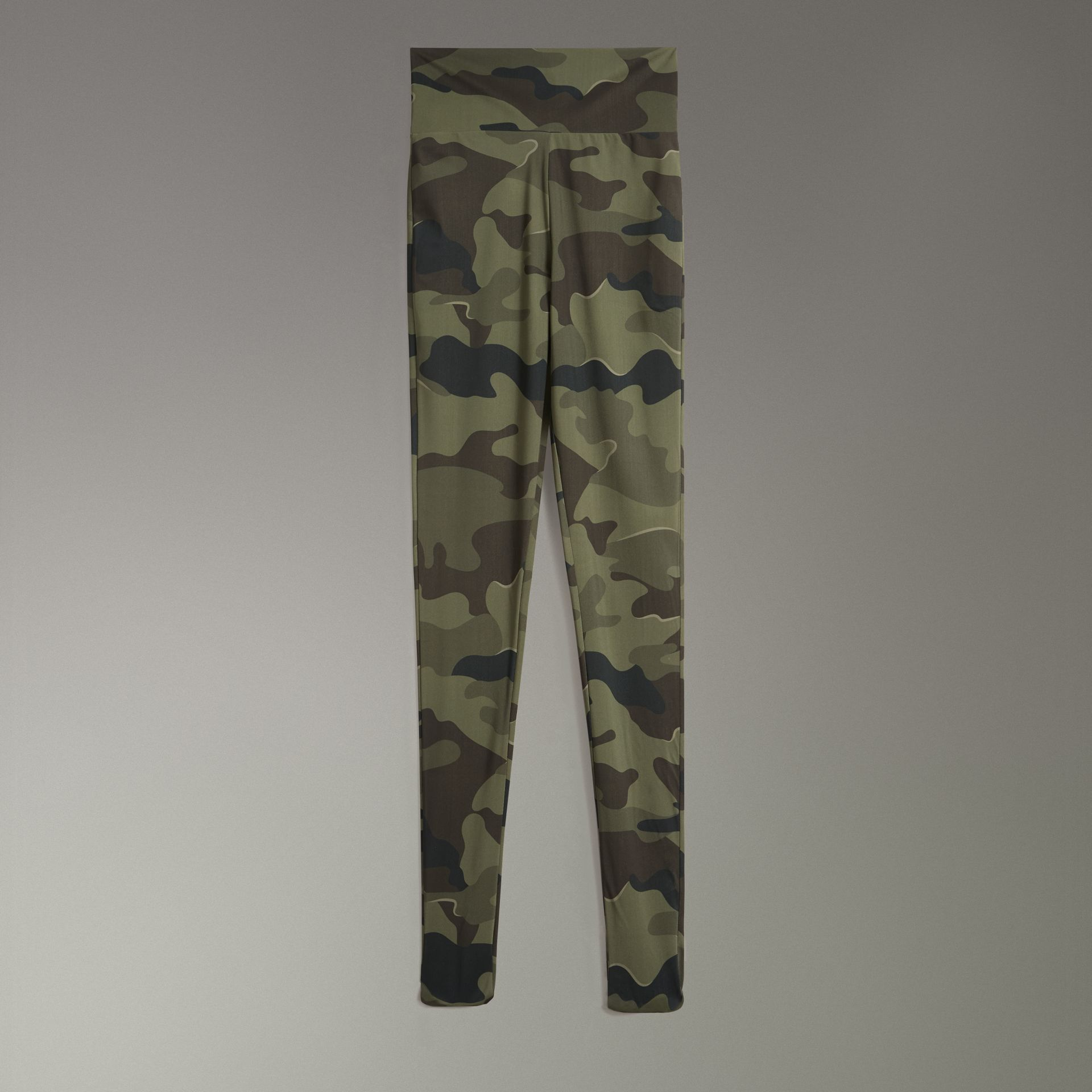Camouflage Print Stretch Jersey Leggings in Slate Green | Burberry - gallery image 3