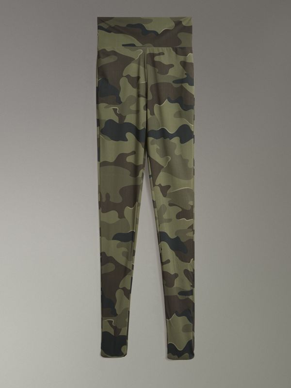 Camouflage Print Stretch Jersey Leggings in Slate Green | Burberry - cell image 3