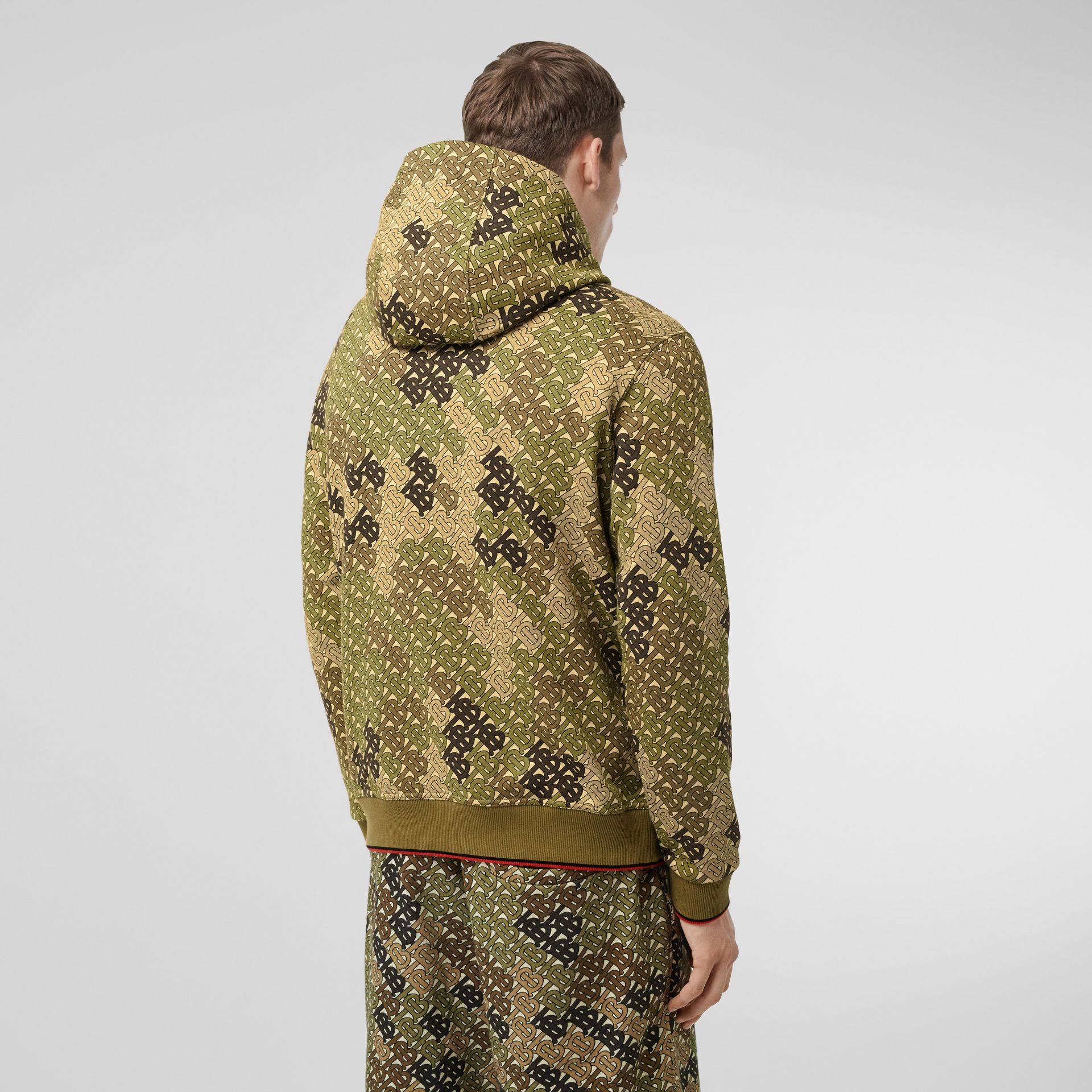 Monogram Print Cotton Hoodie in Khaki Green - Men | Burberry - gallery image 2
