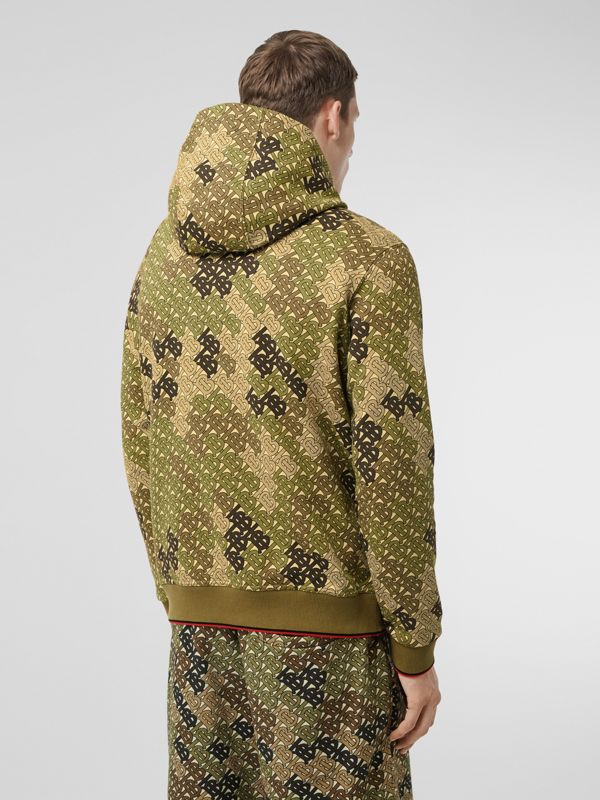 Monogram Print Cotton Hoodie in Khaki Green - Men | Burberry - cell image 2