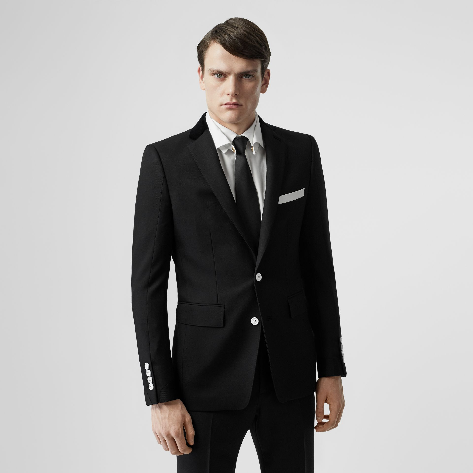 English Fit Velvet Collar Wool Tailored Jacket in Black - Men | Burberry - gallery image 0