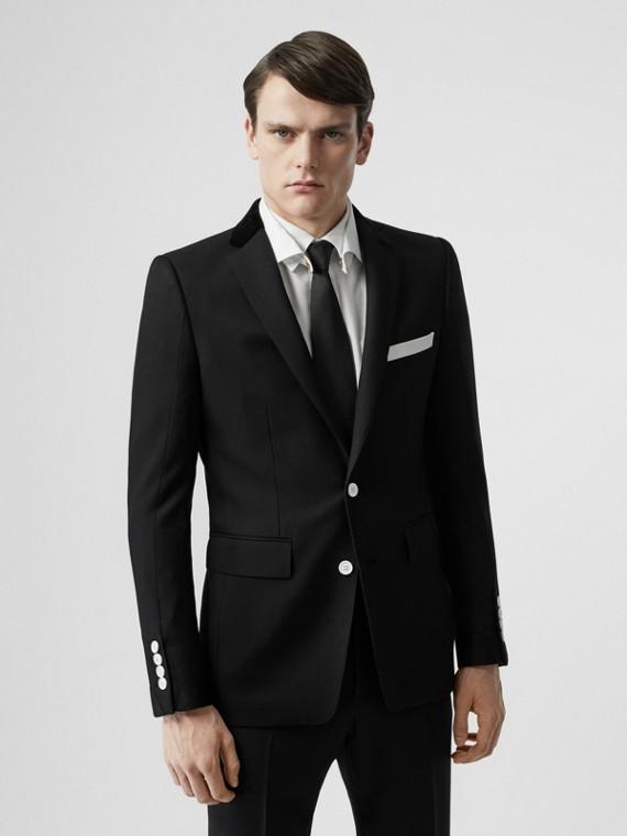 Chaqueta de vestir de corte inglés en lana con cuello de terciopelo (Negro)