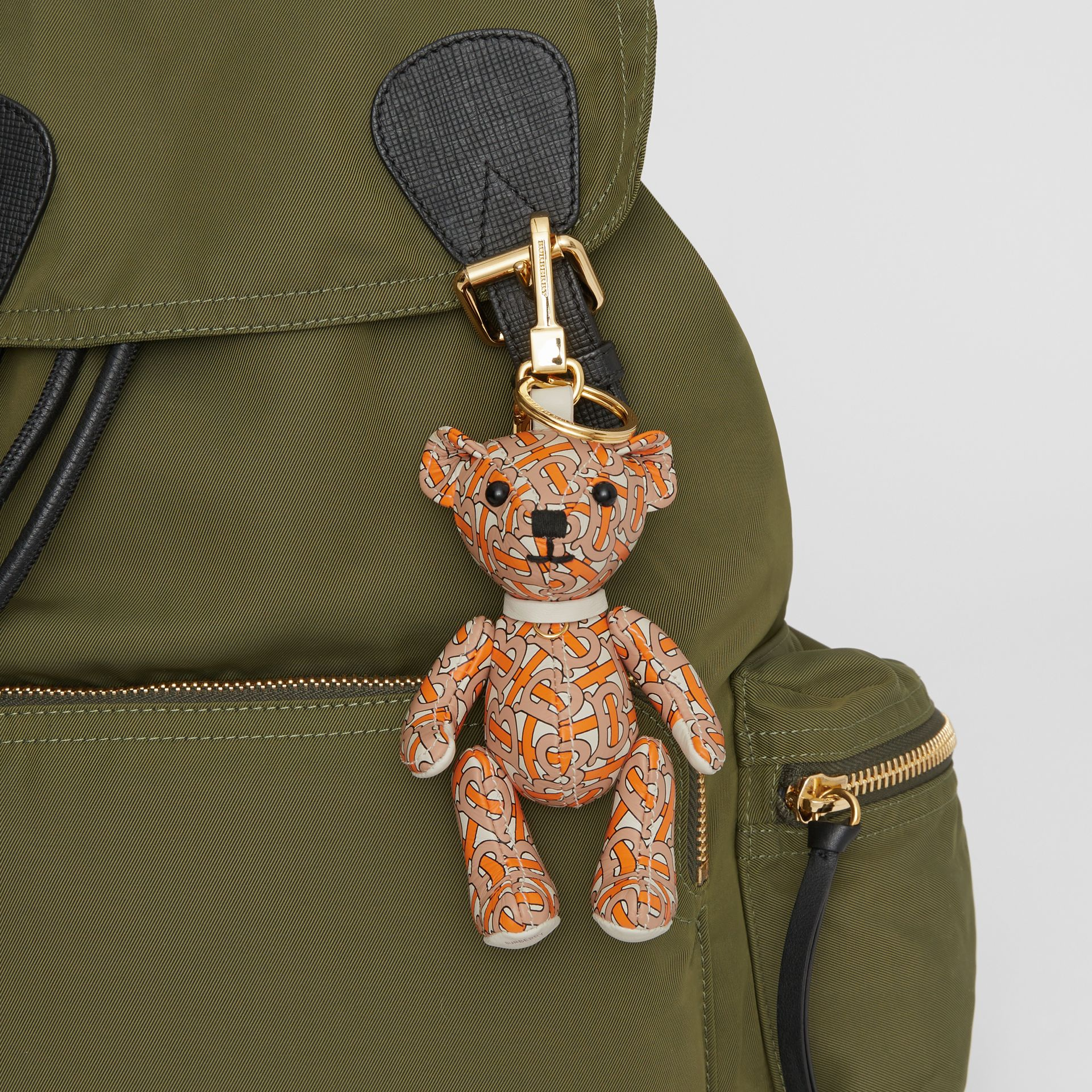 Thomas Bear Charm in Monogram Print Leather in Vermilion | Burberry - gallery image 4