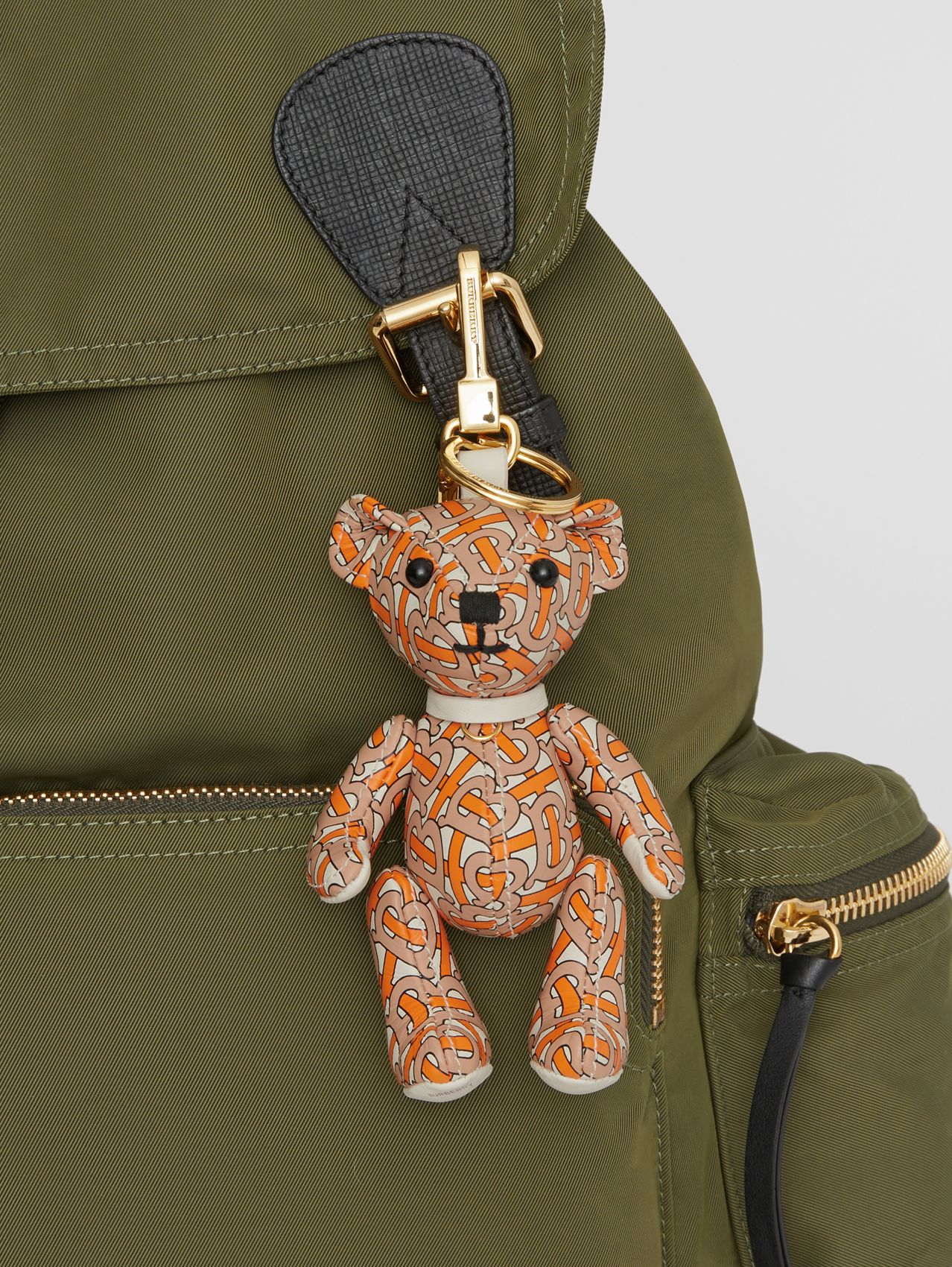Thomas Bear Charm in Monogram Print Leather (Vermilion)