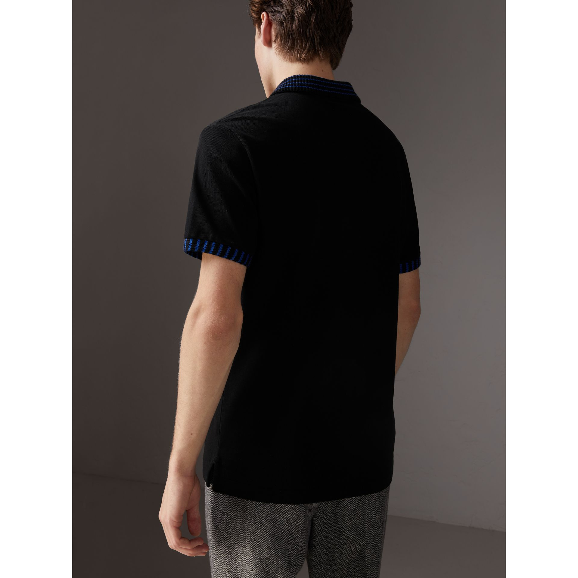 Knitted Detail Cotton Piqué Polo Shirt in Black - Men | Burberry United States - gallery image 1