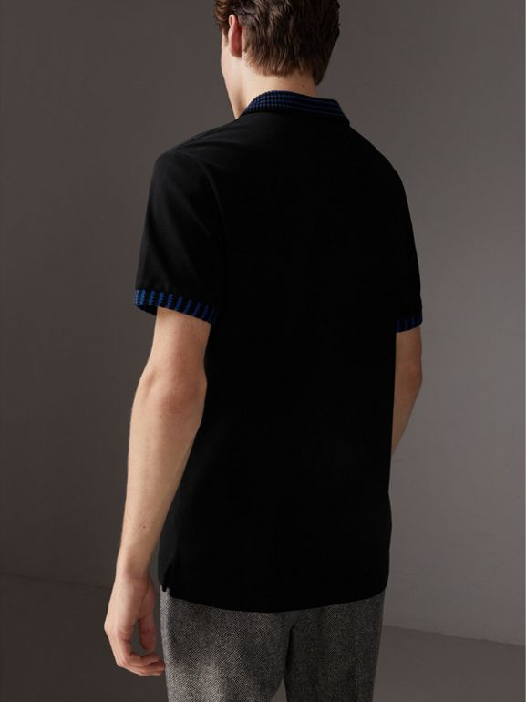 Knitted Detail Cotton Piqué Polo Shirt in Black - Men | Burberry - cell image 1