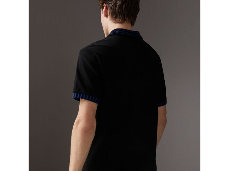 Knitted Detail Cotton Piqué Polo Shirt in Black - Men | Burberry Singapore - cell image 1