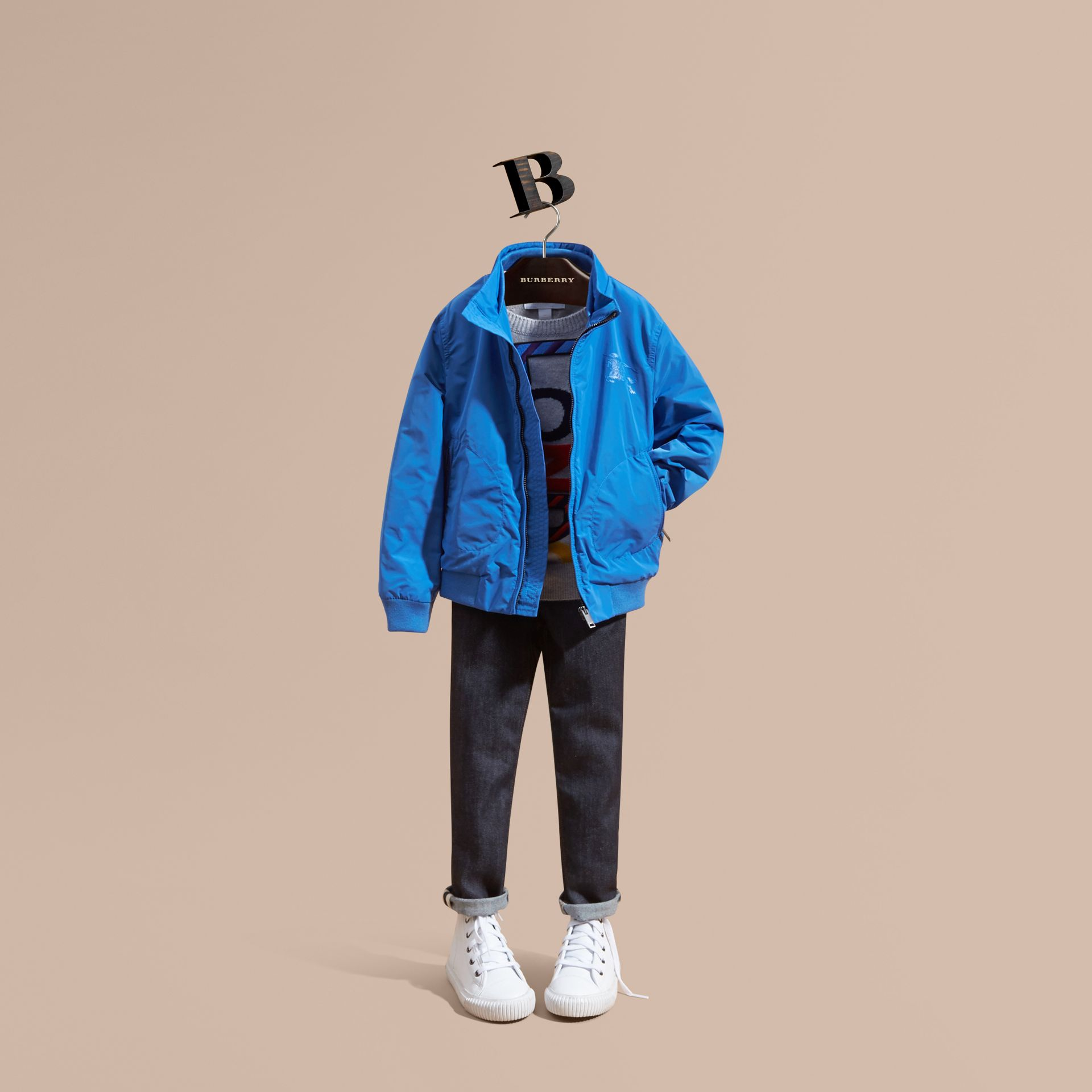 Bright hydrangea blue Packaway Blouson - gallery image 1