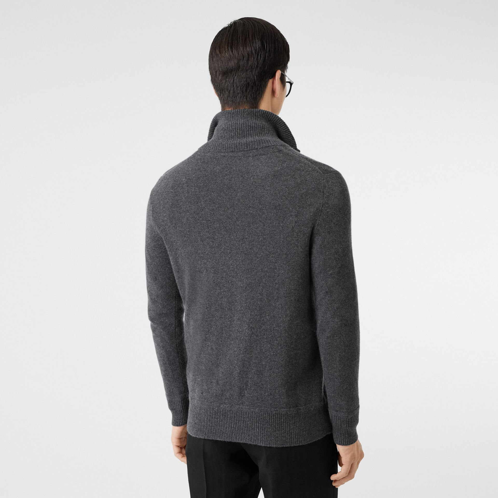 Monogram Motif Cashmere Funnel Neck Sweater in Steel Grey - Men | Burberry - gallery image 2