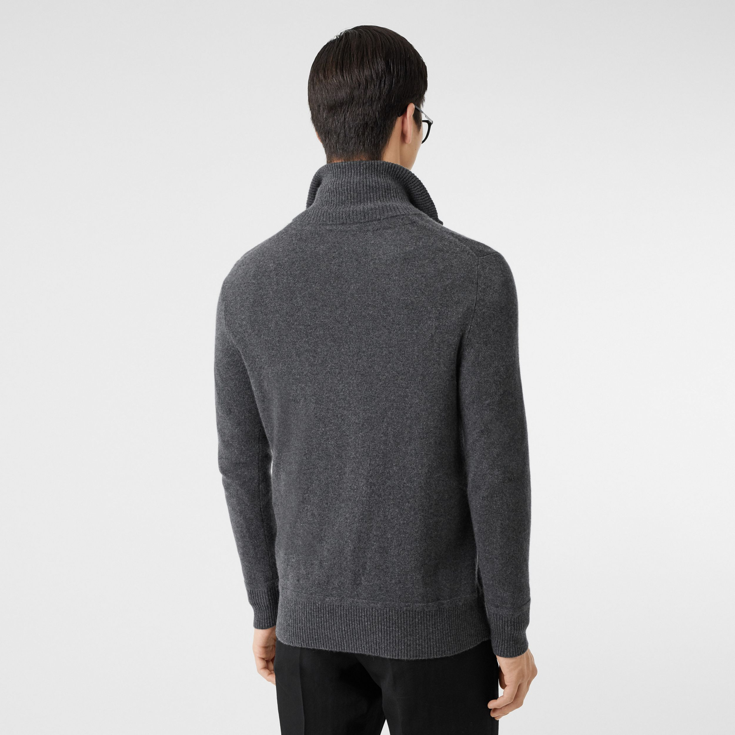 Monogram Motif Cashmere Funnel Neck Sweater in Steel Grey - Men | Burberry - 3