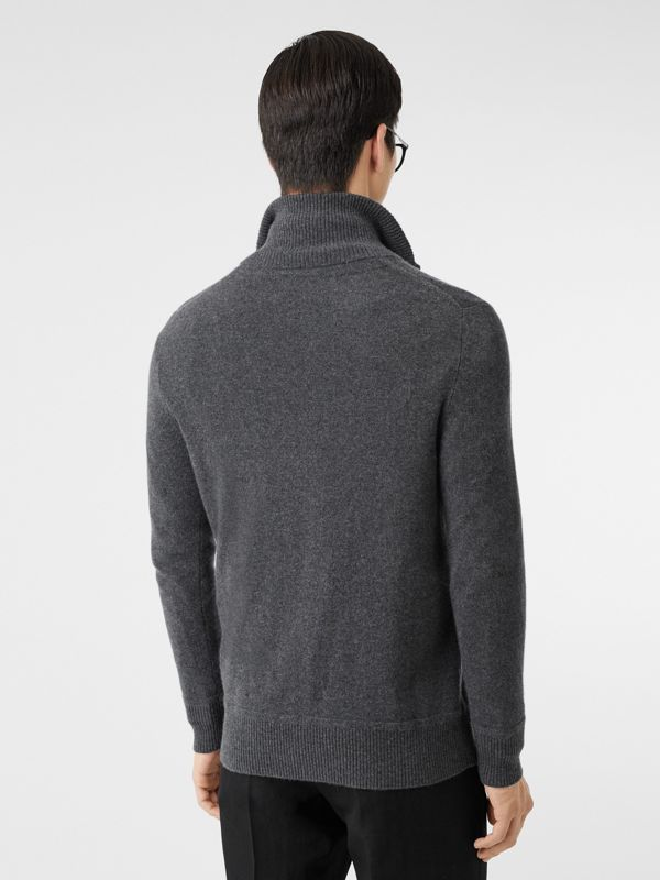 Monogram Motif Cashmere Funnel Neck Sweater in Steel Grey - Men | Burberry - cell image 2