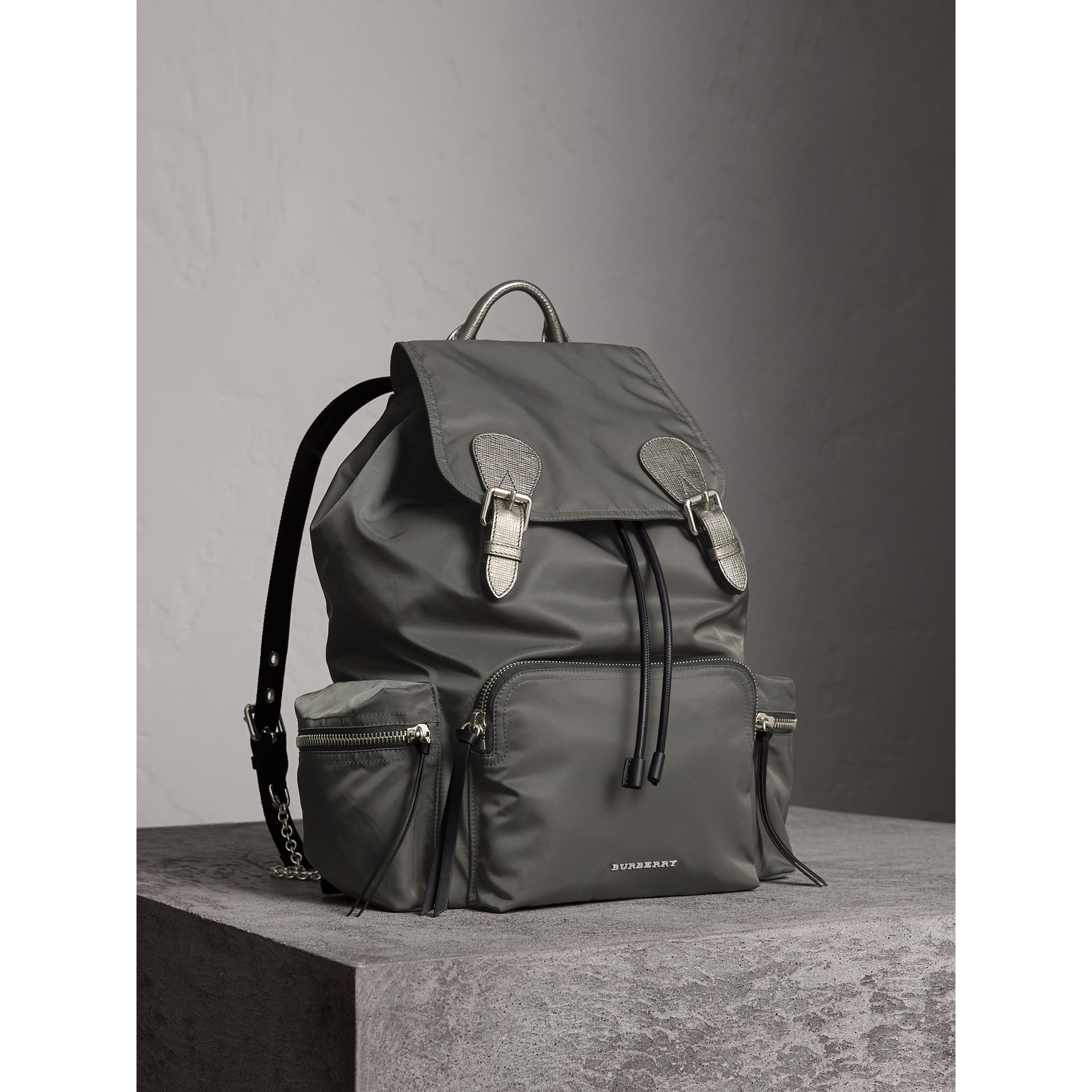 The Medium Rucksack in Technical Nylon and Leather in Dark Grey/dark Grey - Women | Burberry - gallery image 1