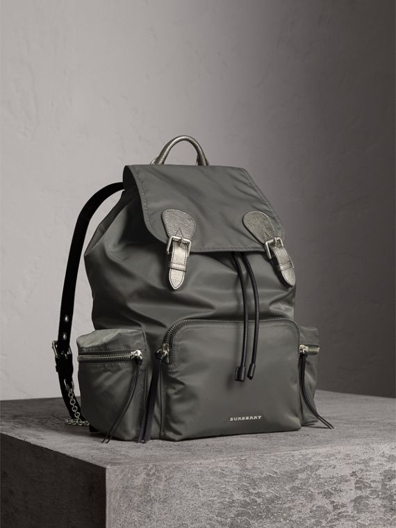 The Medium Rucksack in Technical Nylon and Leather in Dark Grey/dark Grey