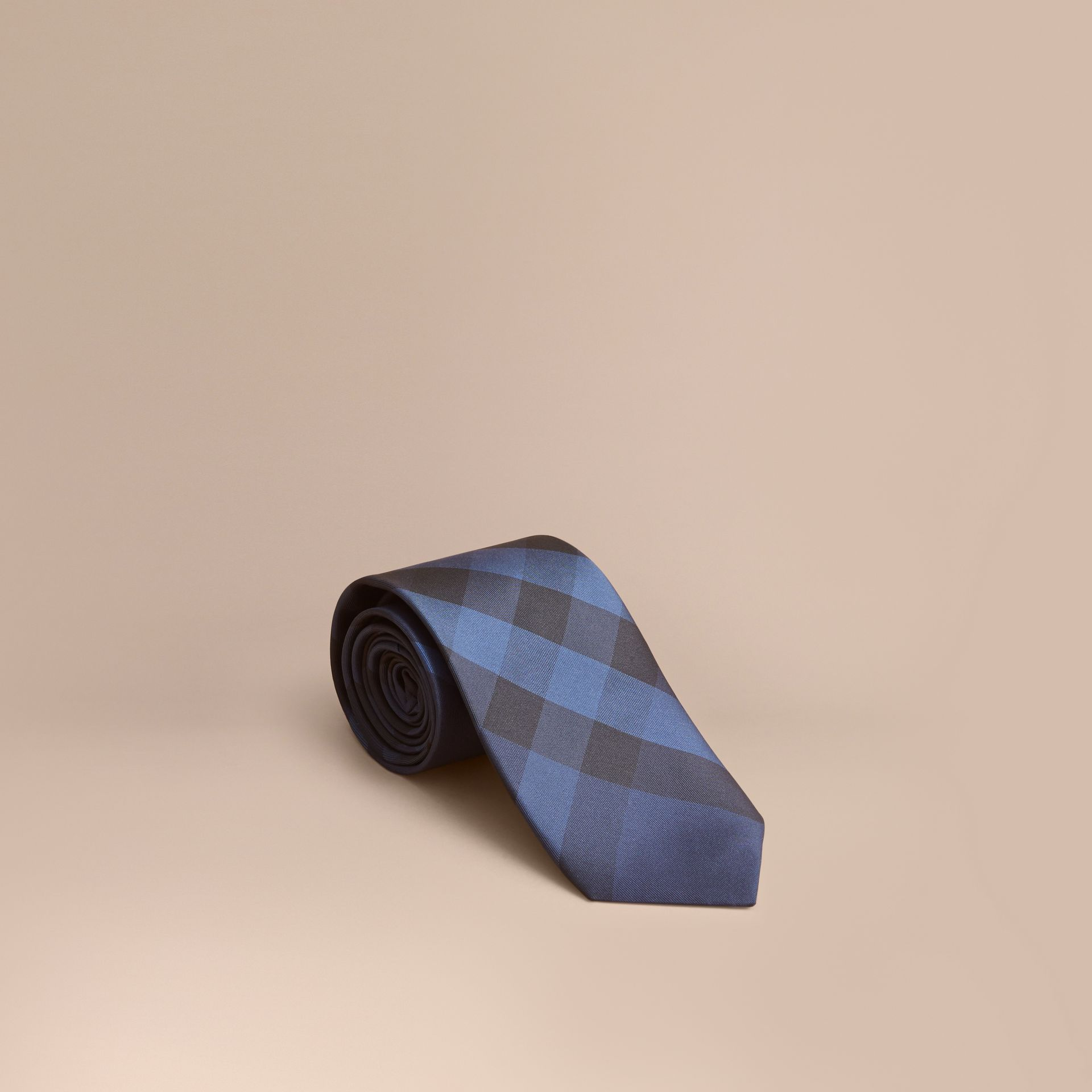Navy Modern Cut Check Silk Tie Navy - gallery image 1
