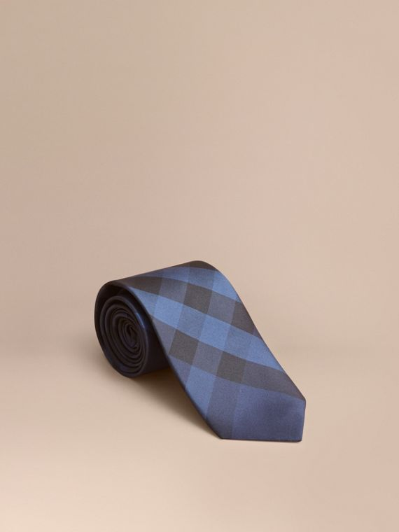 Modern Cut Check Silk Tie Navy