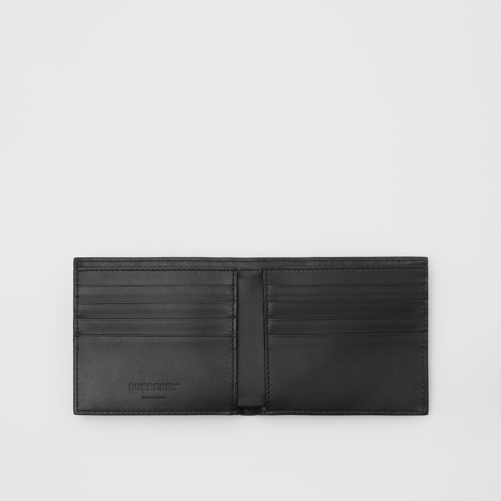 Monogram Leather International Bifold Wallet in Black - Men | Burberry Singapore - gallery image 2
