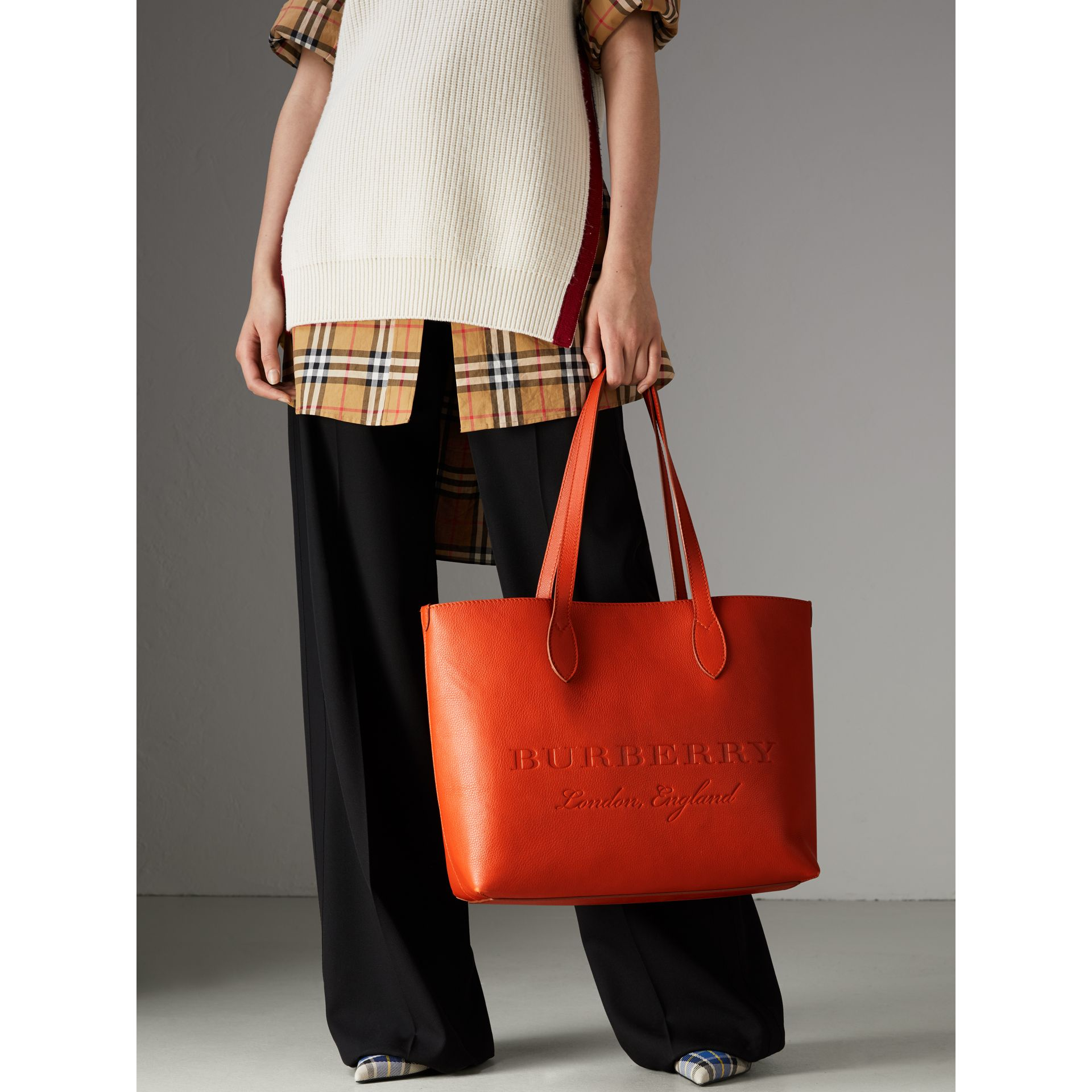 Embossed Leather Tote in Dark Clementine | Burberry United States - gallery image 3