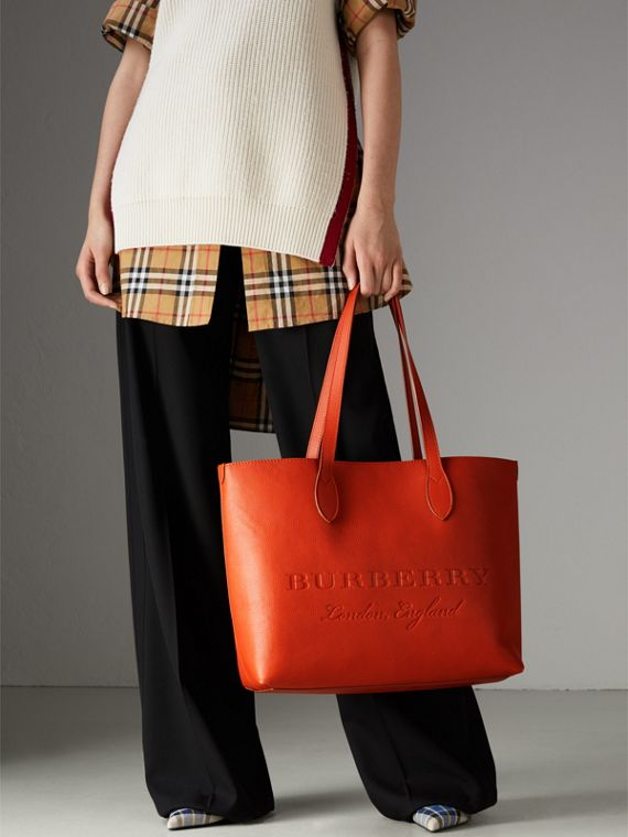 Embossed Leather Tote in Dark Clementine | Burberry - cell image 3