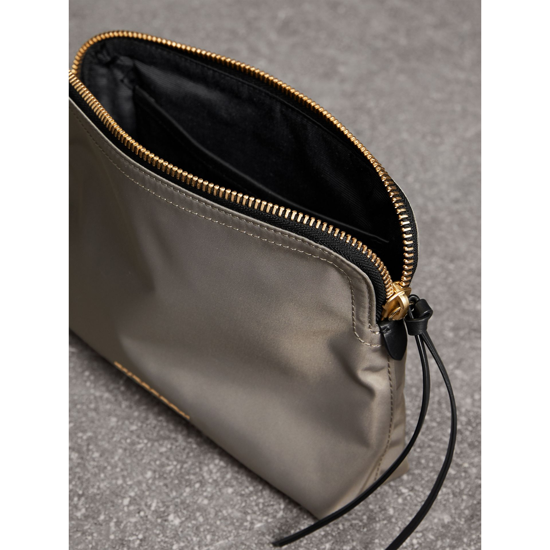 Large Zip-top Technical Nylon Pouch in Thistle Grey - Women | Burberry - gallery image 5