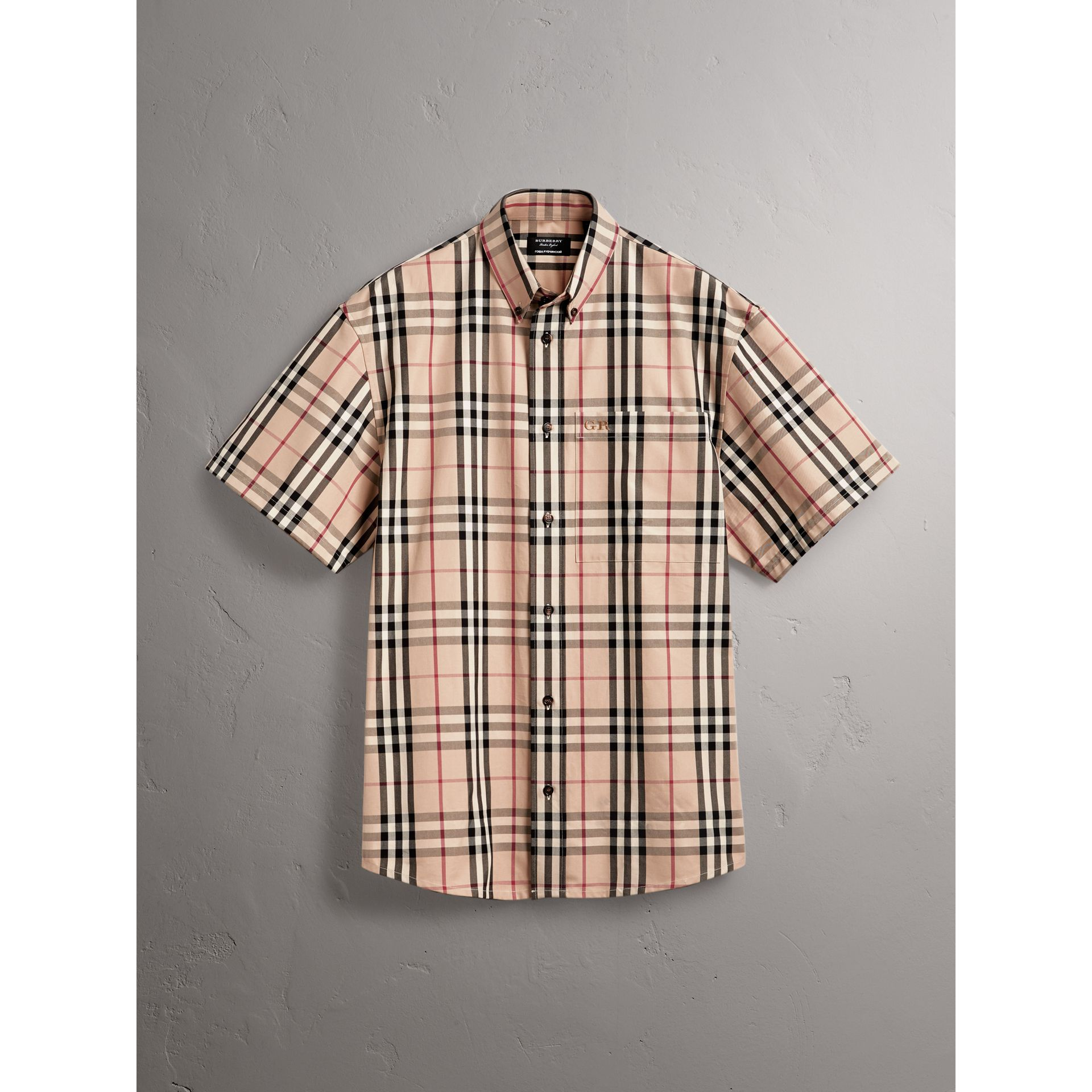 Gosha x Burberry Short-sleeve Check Shirt in Honey | Burberry Australia - gallery image 4