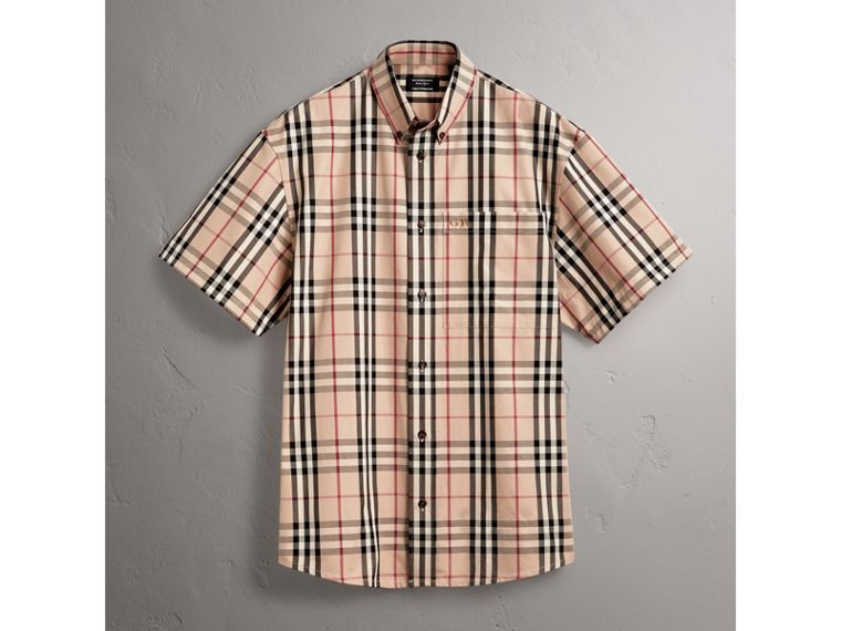 Gosha x Burberry Short-sleeve Check Shirt in Honey | Burberry United States - cell image 4