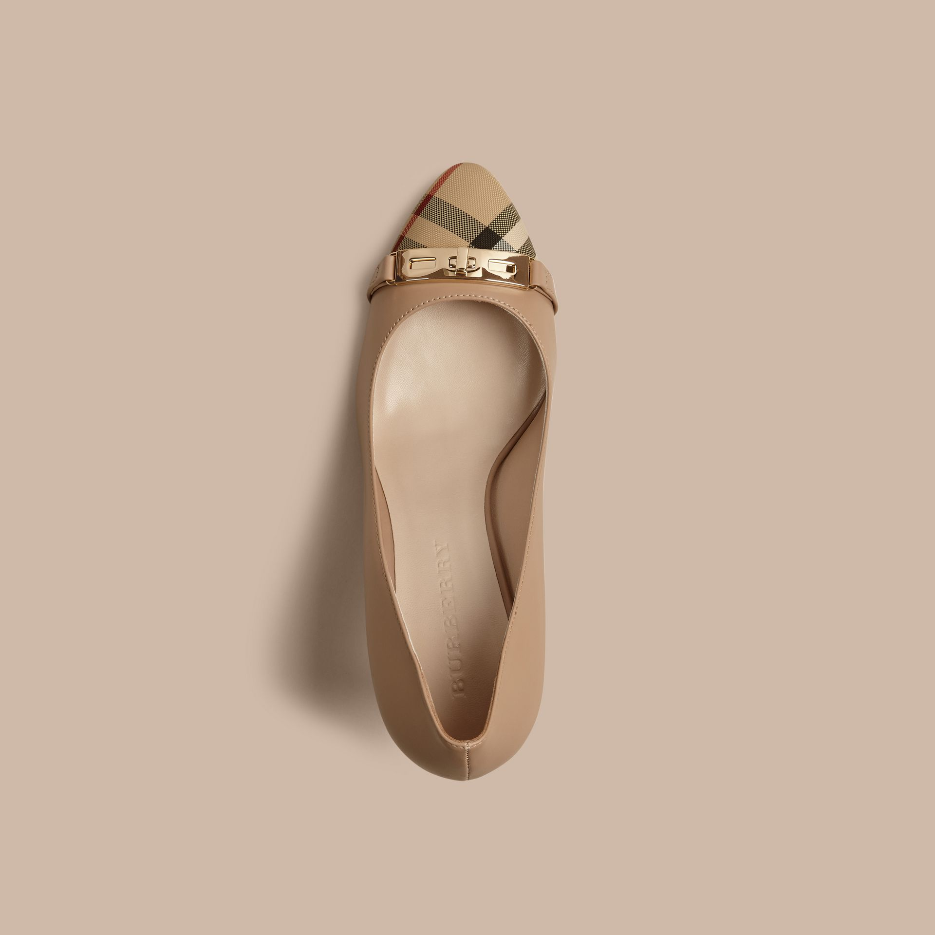 Horseferry Check Leather Pumps in Light Nude - Women | Burberry Canada - gallery image 3