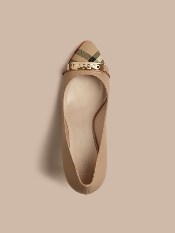 Horseferry Check Leather Pumps in Light Nude - Women | Burberry Canada - cell image 2
