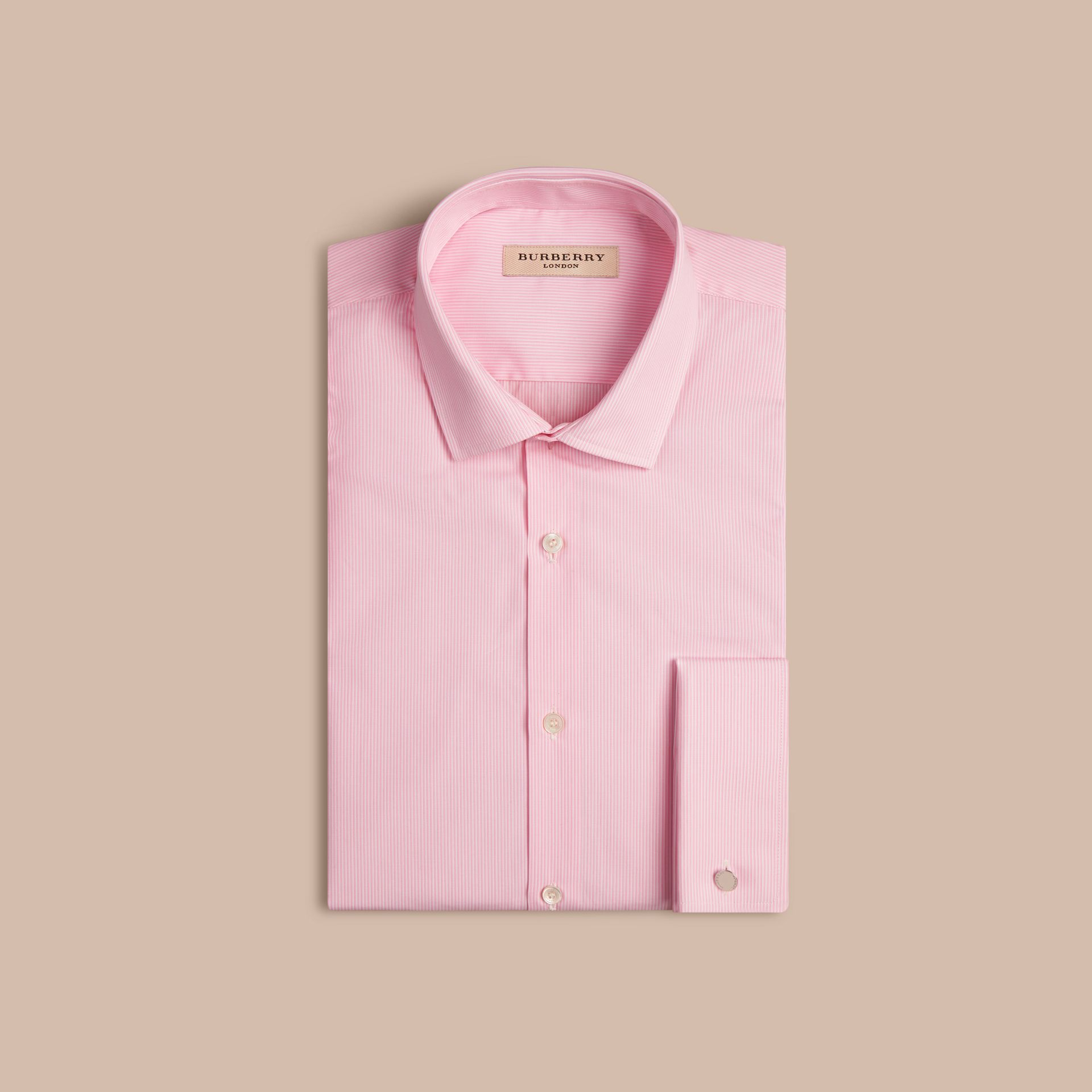 City pink Modern Fit Double-cuff Striped Cotton Poplin Shirt - gallery image 4