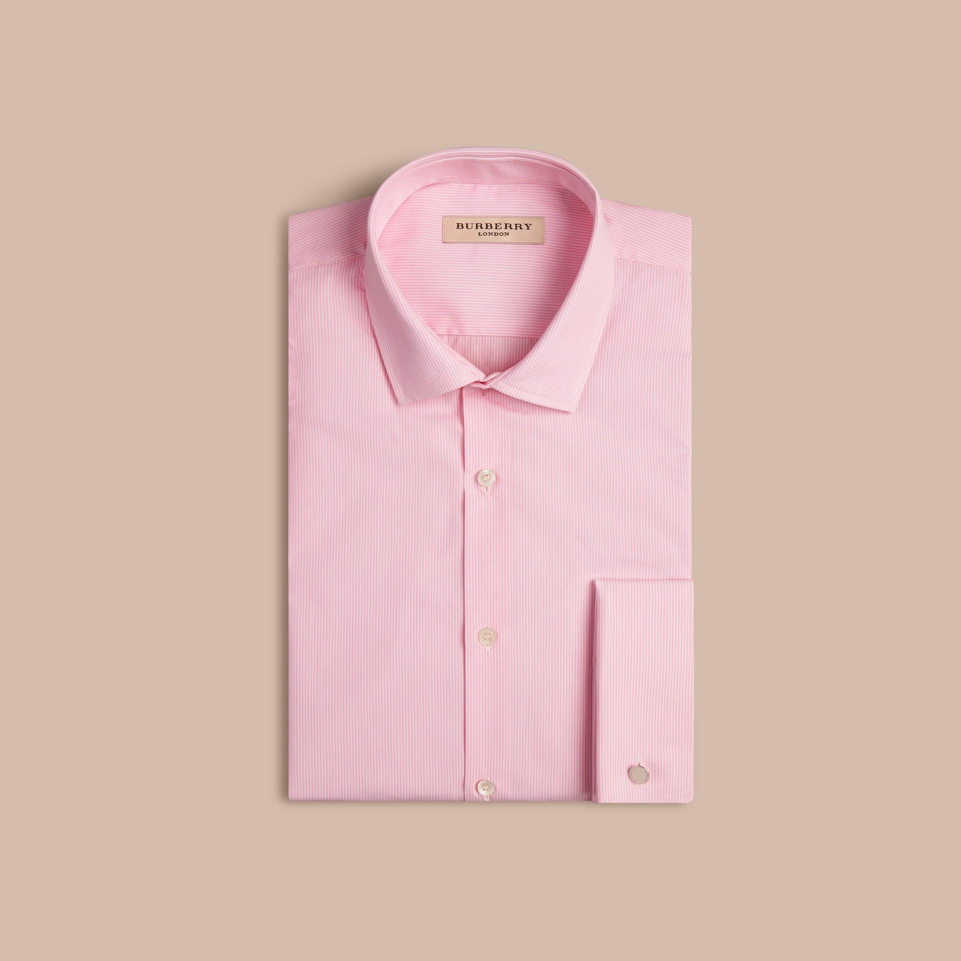 Rosa urbano Camicia moderna a righe in popeline di cotone con polsini doppi - immagine della galleria 4