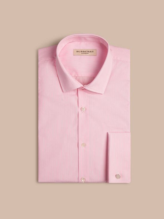 City pink Modern Fit Double-cuff Striped Cotton Poplin Shirt - cell image 3