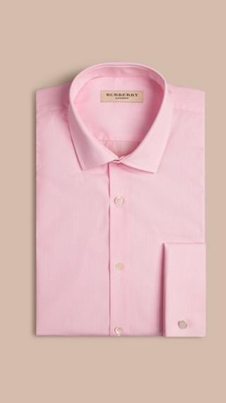 Modern Fit Double-cuff Striped Cotton Poplin Shirt