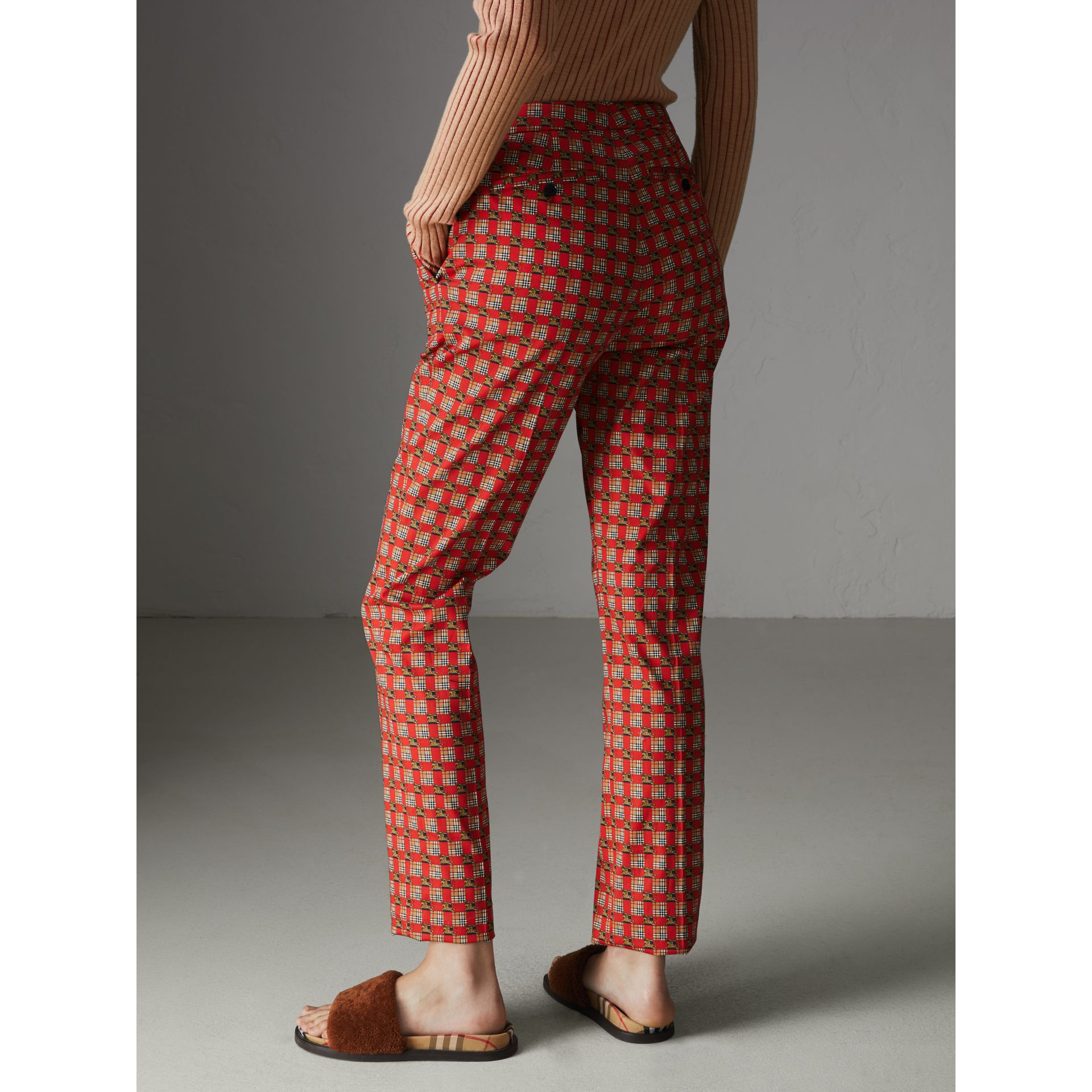 Tiled Archive Print Stretch Cotton Cigarette Trousers in Orange Red - Women | Burberry Australia - gallery image 2