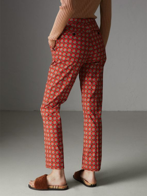 Equestrian Check Print Stretch Cotton Cigarette Trousers in Bright Red - Women | Burberry Canada - cell image 2