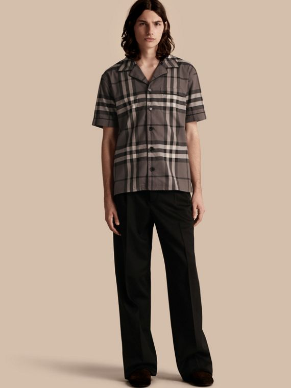 Short-sleeved Check Cotton Pyjama-style Shirt Charcoal