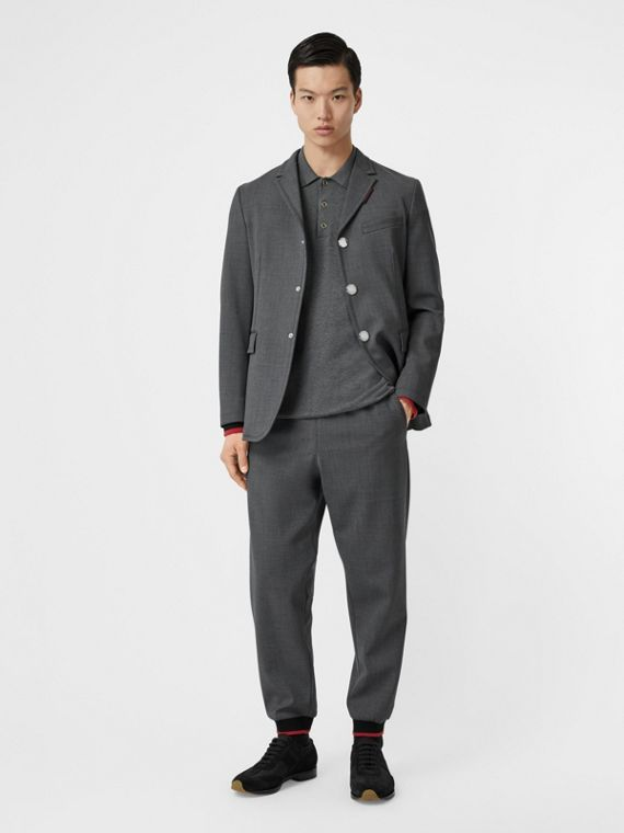 Stripe Detail Stretch Wool Neoprene Tailored Jacket in Dark Grey Melange