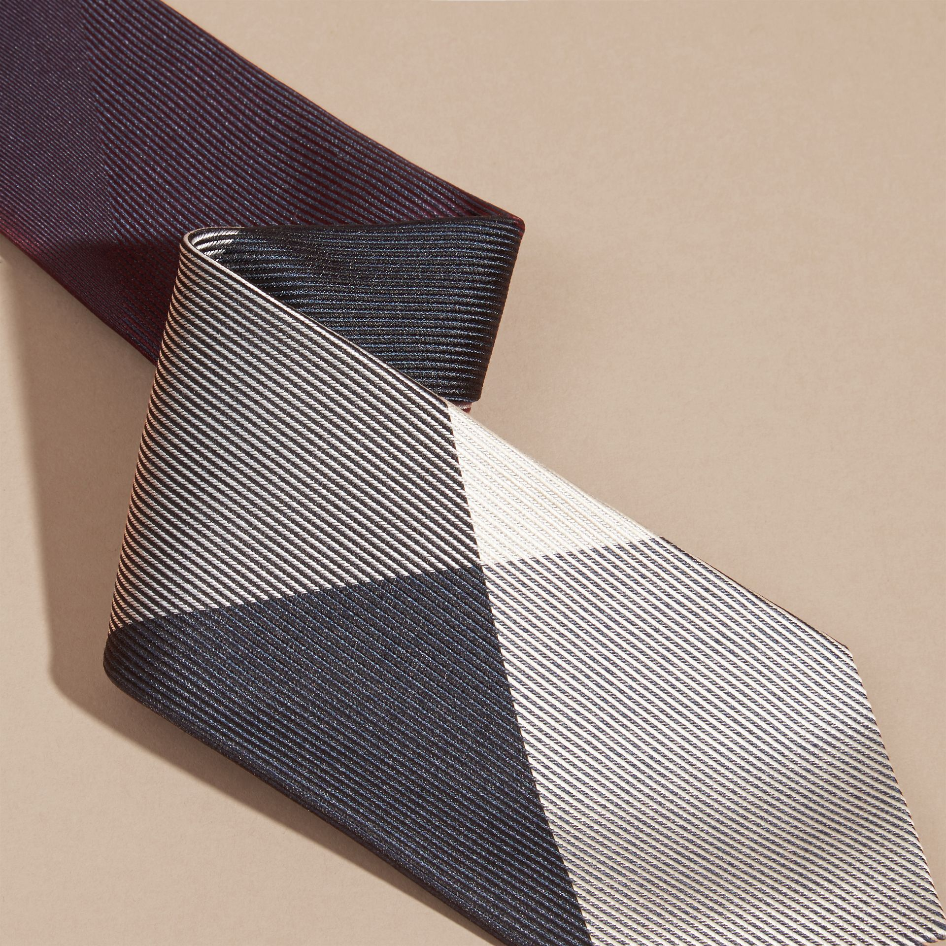 Modern Cut Check Jacquard Silk Tie in Deep Burgundy - gallery image 2