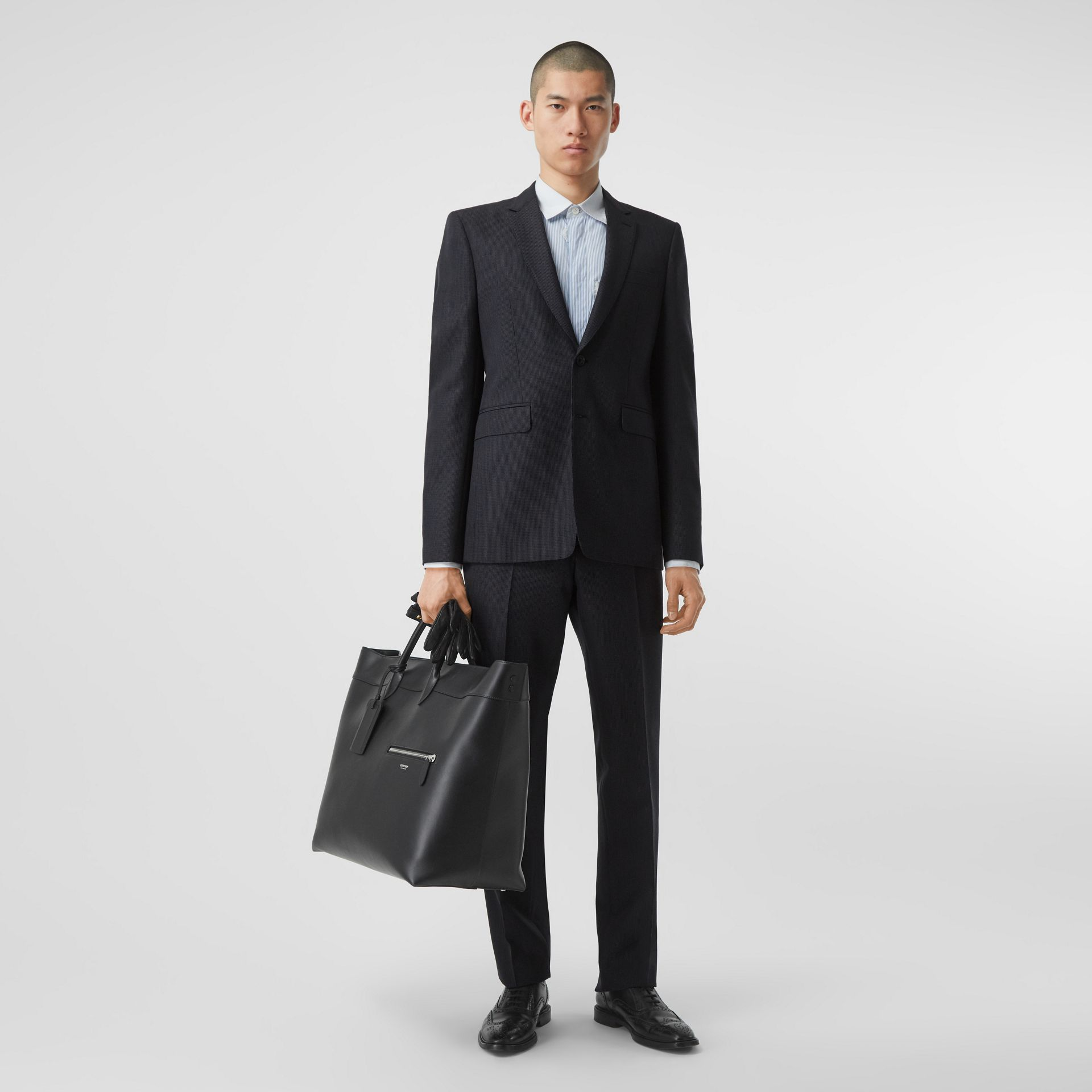 Classic Fit Puppytooth Check Wool Mohair Suit in Navy - Men | Burberry - gallery image 0