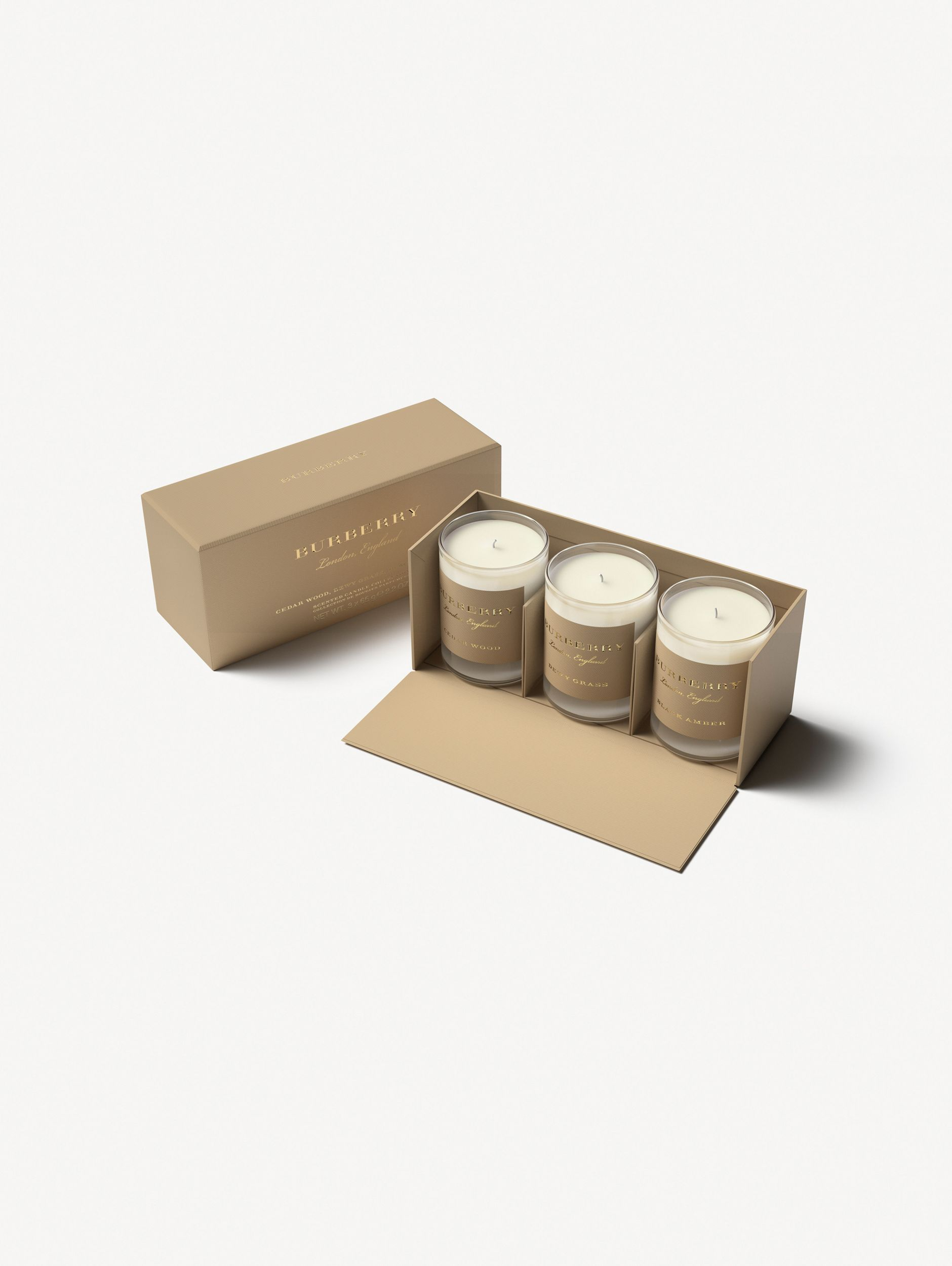 Scented Candle Collection – Cedar Wood, Black Amber, Dewy Grass | Burberry - 1