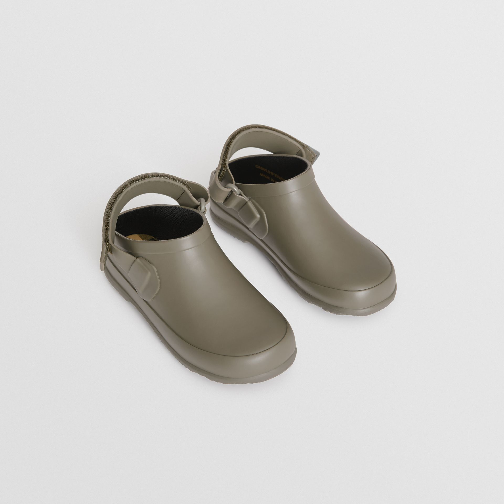 Check Detail Rubber Sandals in Dusty Olive - Children | Burberry - gallery image 0