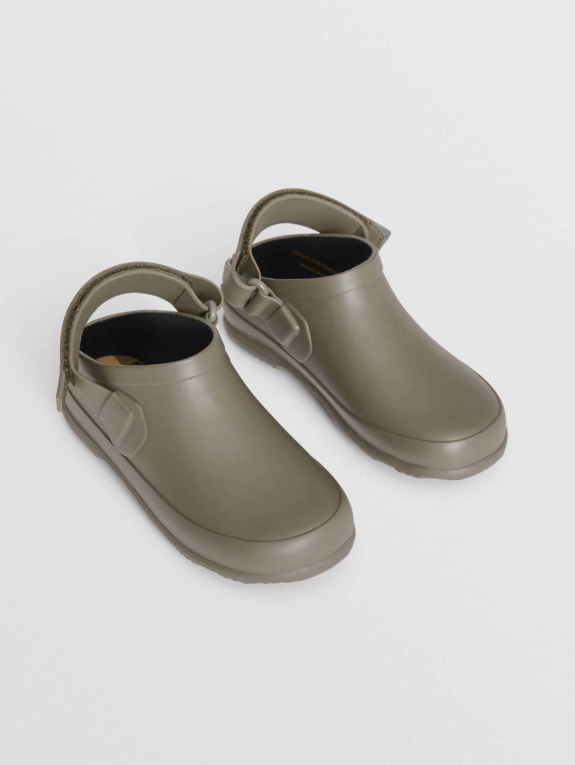 Check Detail Rubber Sandals in Dusty Olive - Children | Burberry - 1