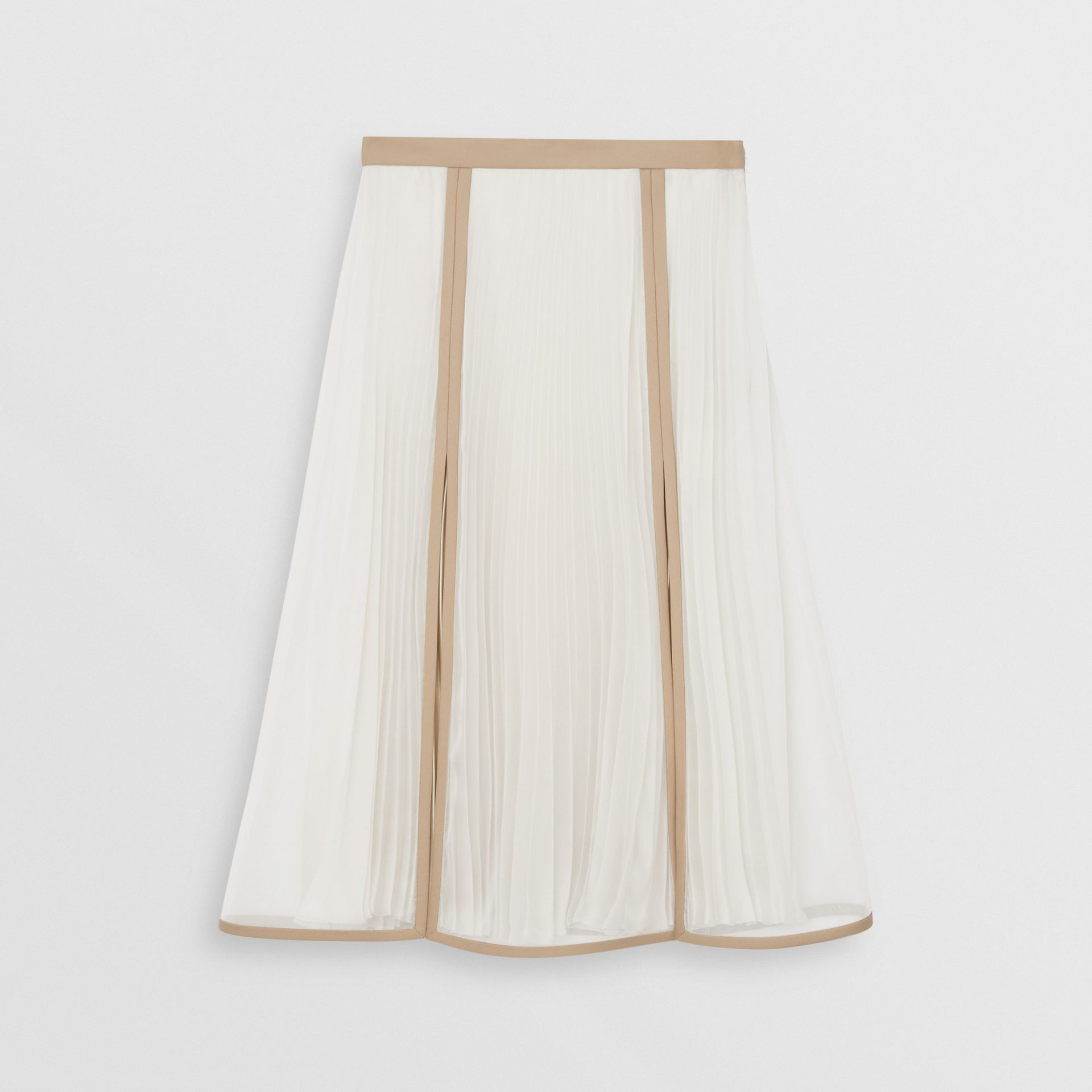 Chiffon Panel Silk Pleated Skirt in Magnolia - Women | Burberry - gallery image 3