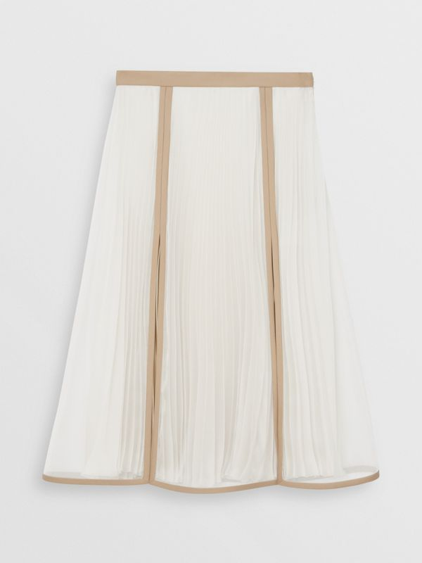 Chiffon Panel Silk Pleated Skirt in Magnolia - Women | Burberry - cell image 3