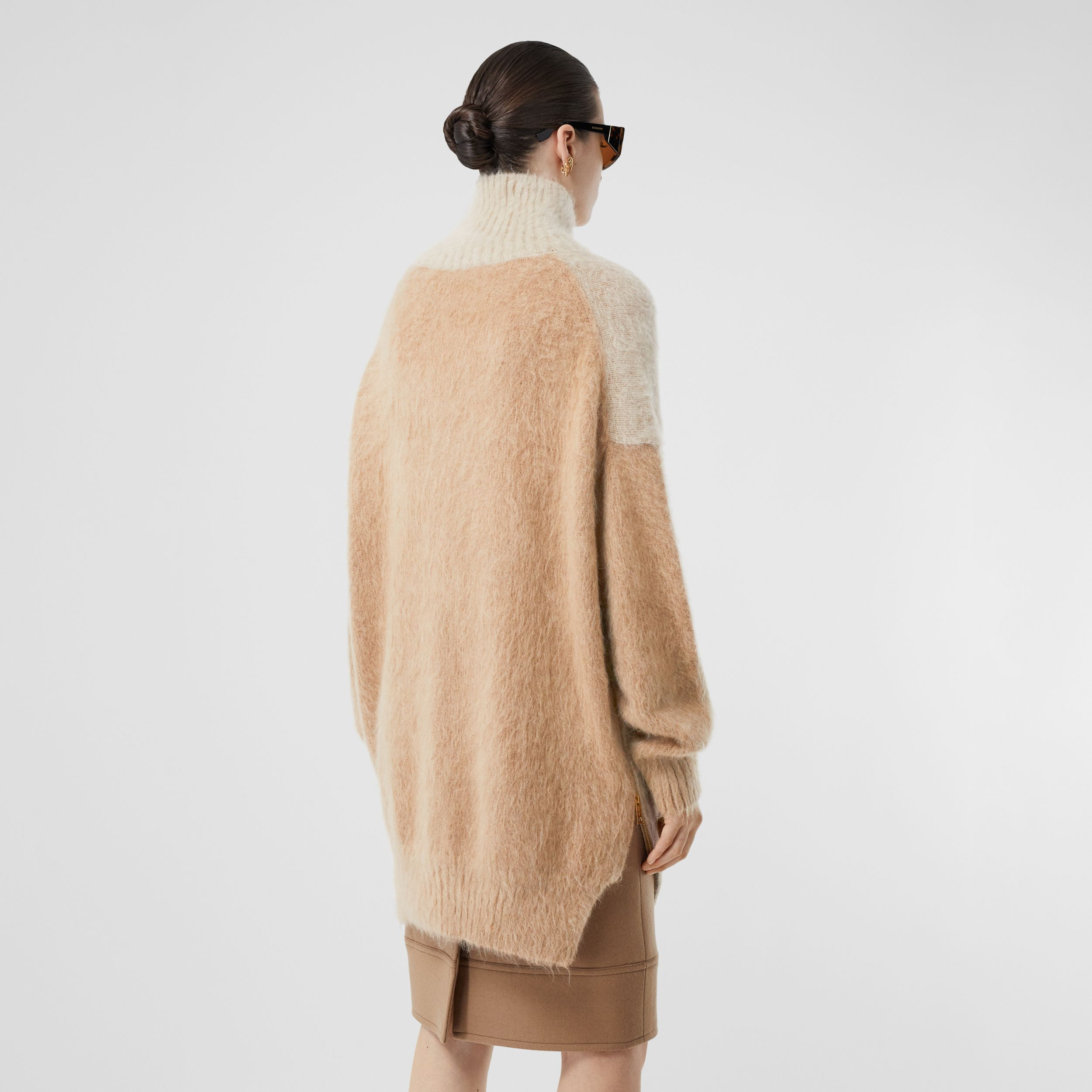 Wool Mohair Blend Oversized Turtleneck Sweater in Light Fawn - Women | Burberry - 3