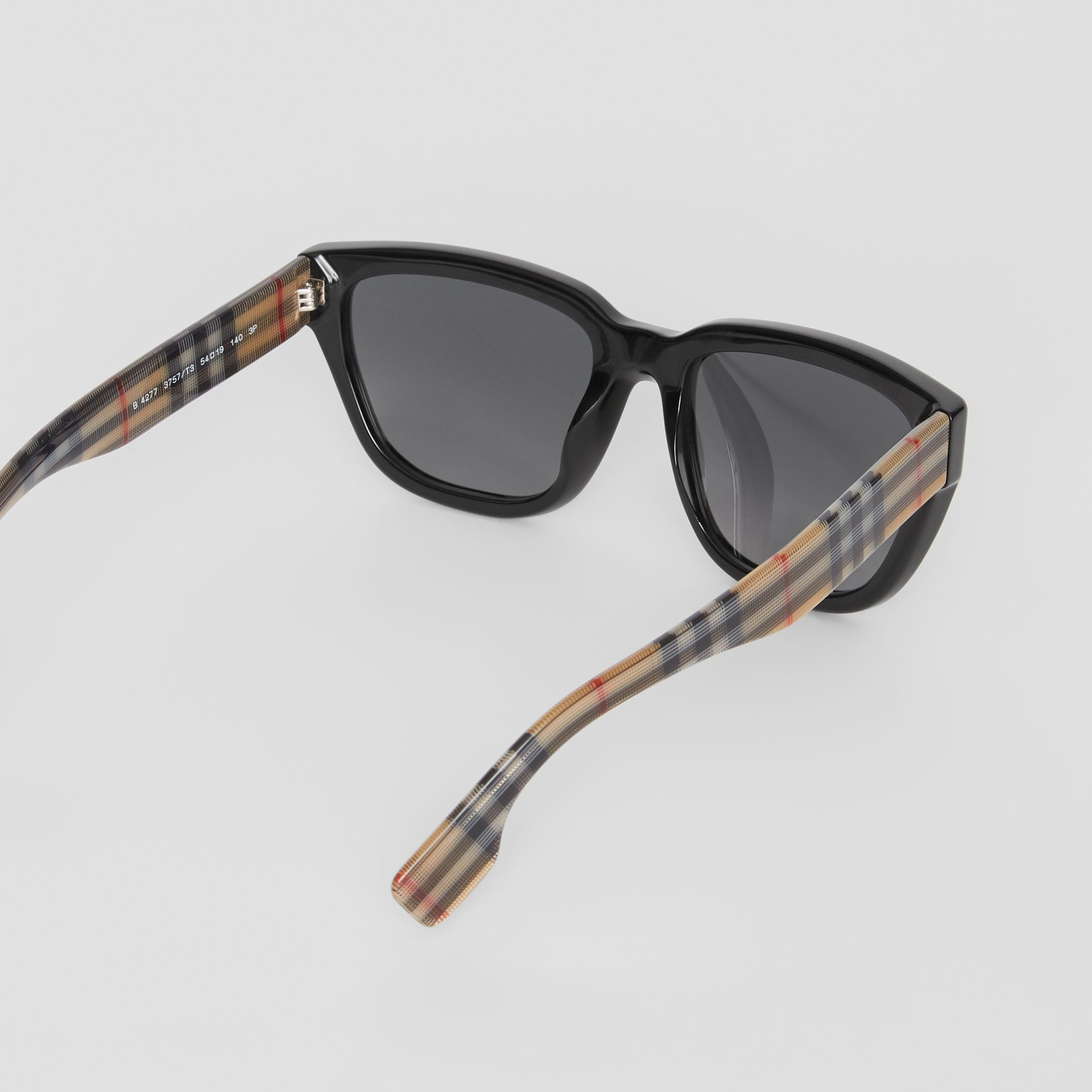Vintage Check Detail Square Frame Sunglasses in Antique Yellow - Women | Burberry Singapore - gallery image 4