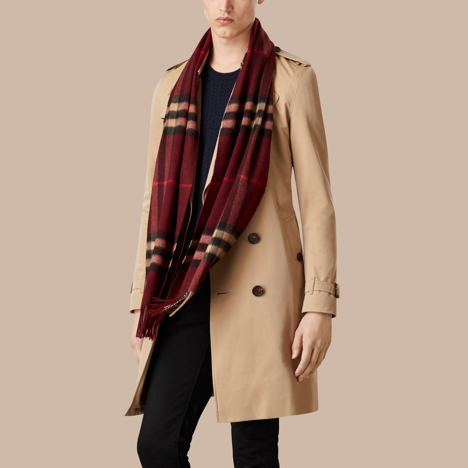 Claret check The Classic Cashmere Scarf in Check Claret - gallery image 4