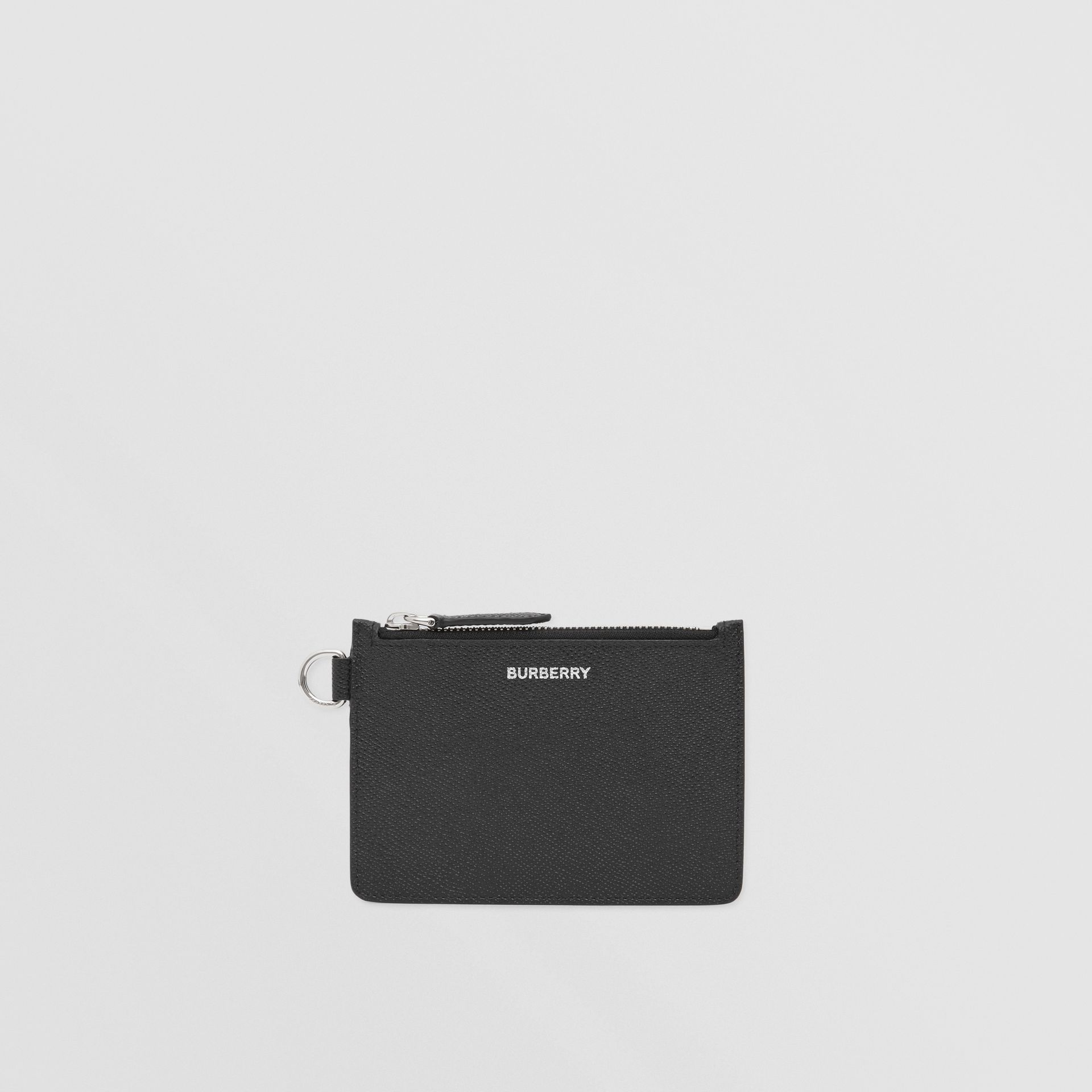 Grainy Leather Zip Coin Case in Black - Men | Burberry United Kingdom - gallery image 0