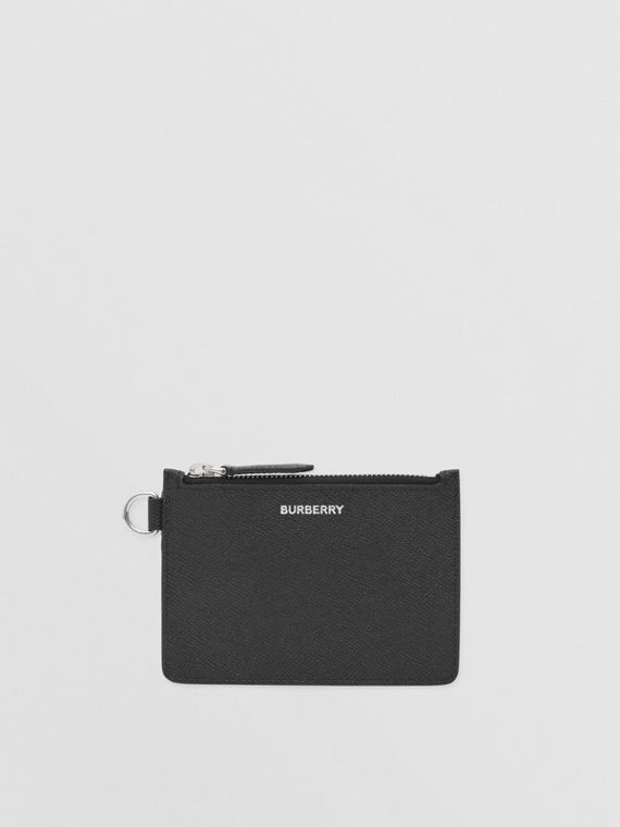 Grainy Leather Zip Coin Case in Black