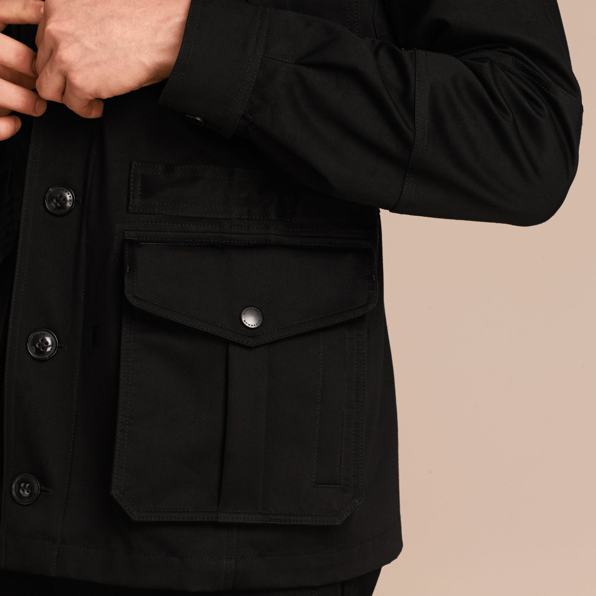 Black Bonded Cotton Field Jacket with Removable Warmer - gallery image 6